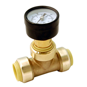 "1/2"" Lead Free Pressure Gauge Tee - Push Connect"