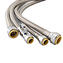 "1/2"" Push x 3/4"" FIP, 18"" Lead Free Stainless Steel Braided Push Connect Water Heater Supply Hose, Dual Seal"