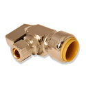 "1/2"" x 3/8"" OD Comp. x 3/8"" OD Comp., 3-way, Chrome Plated 1/4 Turn Push Connect™ Stop Valve Tee, Lead Free"